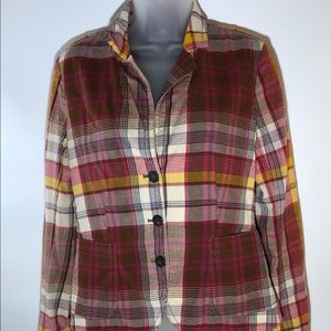 J Crew Plaid Cotton Blazer Size 6